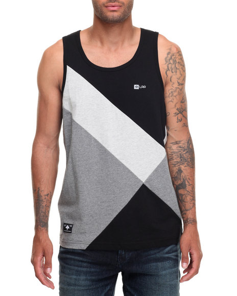 Lrg Men Rc Color Blocked Tank Black Large