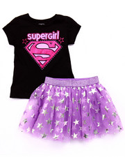 Girls - 2 PC SET - SUPERGIRL TEE & TUTU SKIRT (4-6X)