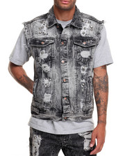 Men - Riveted Rip - And - Repair Denim Vest