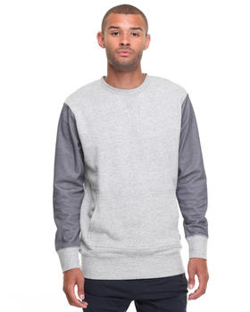 -FEATURES- - 3D CREW GREY MARLE/NAVY MESH SWEATSHIRT