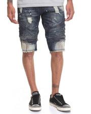 Men - Rip - And - Repair Moto - Style Denim Shorts