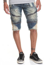 Men - Rip - And - Repair Moto - Style Denim Shorts