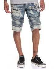 Men - Moto - Style Denim Shorts W/ Zipper Trim