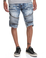 Buyers Picks - Moto - Style Denim Shorts W/ Zipper Trim