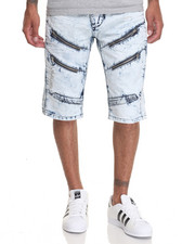 Men - Moto - Style Multi - Zipper Denim Shorts
