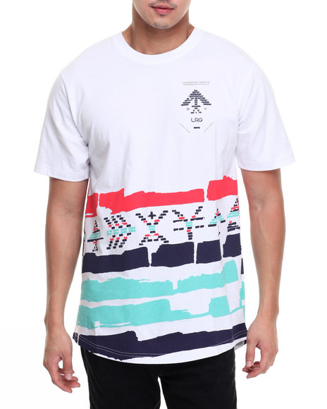 Lrg Men Glyph Stripe Flag T-Shirt White Small
