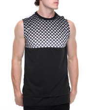 Men - Diamond Colorblock Muscle Tee w Zip Detail