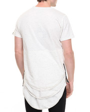 Men - Speckled Triple Layer Elongated Tee w Zips