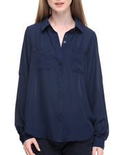 Tops - Janet Button Front Georgette Roll Tab Shirt