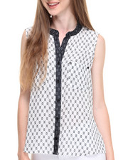 Sleeveless - Geo Print Button Front Sleeveless Georgette Top