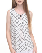 Sleeveless - Chain Print Hi-Low Hem Button Front Sleeveless Georgette Top