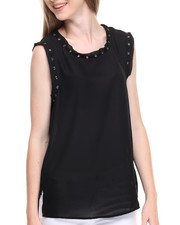 Sleeveless - Victoria Metal Grommets Sleeveless Top