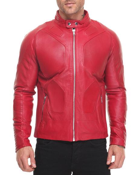 Hudson Nyc Men Super Moto Premium Leather Jacket Red Medium