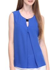 Women - Solid Hi-Low Hem Button Front Sleeveless Georgette Top