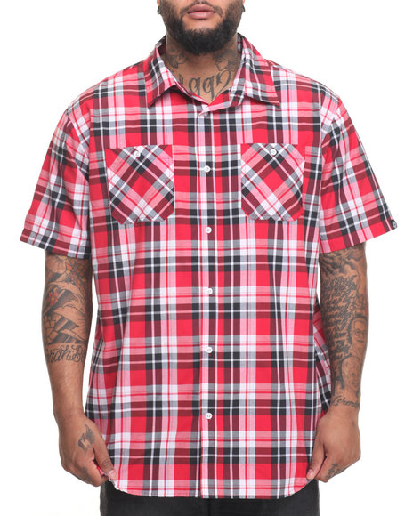 Akademiks Men Dove S/S Button-Down (B&T) Red 5X-Large