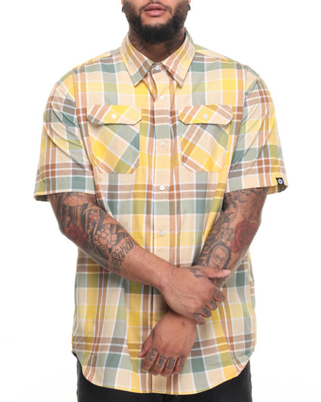 Akademiks Men Summer S/S Button-Down (B&T) Khaki 4X-Large