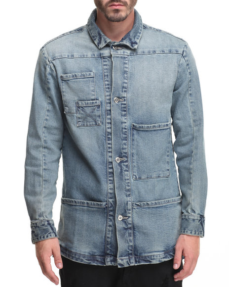 Entree Men Oblivion Denim LS Shirt Jacket Light Wash Small