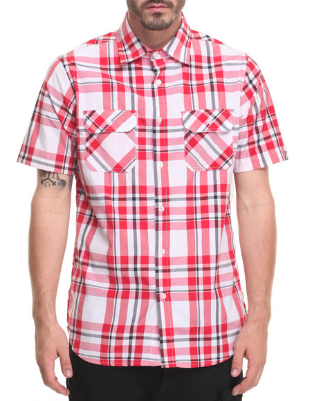 Akademiks Men Band S/S Button-Down Red XX-Large