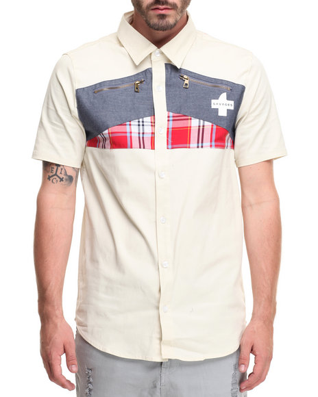 Akademiks Men Red Crossed S/S Button Beige 3X-Large