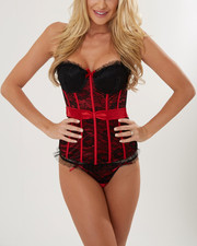 Women - Reversible Satin Tie Tailored Lace Trim Corset Set (Plus)