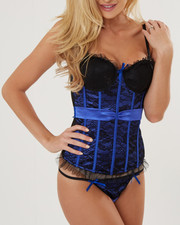 DRJ Lingerie Shoppe - Reversible Satin Tie Tailored Lace Trim Corset Set (Plus)