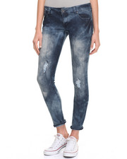 Jeans - Destructed Bling Pockets Marble Wash Skinny Jean