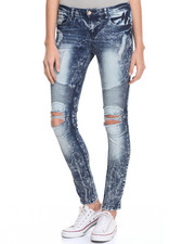 Bottoms - Destroyed Moto Skinny Jean