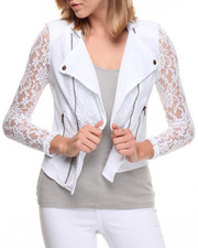 Women - Lace Insert Zip Trim Moto Jacket