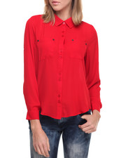 Tops - Janet Button Front Gerogette Roll Tab Shirt