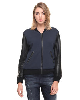Jackets & Coats - L-ANOUK BOMBER JACKET W/ LEATHER SLEEVES
