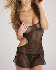 DRJ Lingerie Shoppe - Cut-out Sides Stretch Fishnet Chemise Set (Plus)