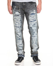 Basic Essentials - Black Spray Rip - And - Tear Denim Jeans