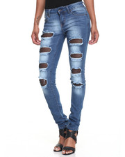 Fashion Lab - Hole Rips Mesh Inserts Stretch Skinny Jean