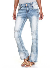 Women - Rips Acid Wash Flare Jeans