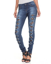 Fashion Lab - Bow Tie Rips Lace Inserts Stretch Skinny Jean