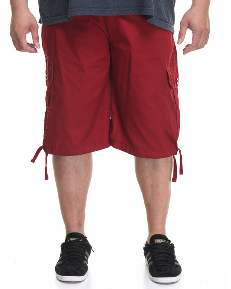 Akademiks Men Cameron Cargo Shorts (B&T) Maroon 46