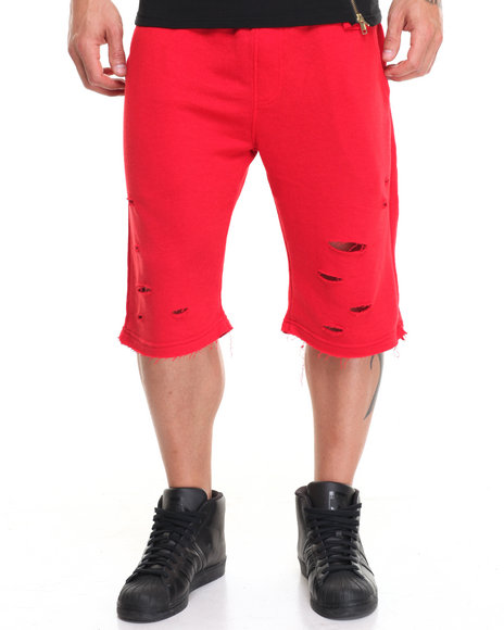 Buyers Picks Men Ripped Terry Shorts Red Large