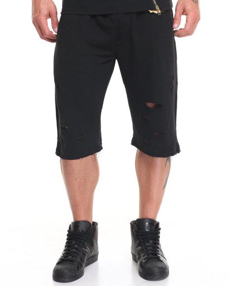 Buyers Picks Men Ripped Terry Shorts Black XLarge