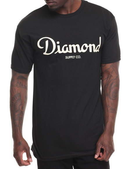 Diamond Supply Co Men Champagne Script Tee Black XX-Large