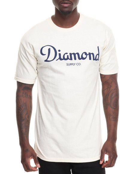 Diamond Supply Co Men Champagne Script Tee Cream Small