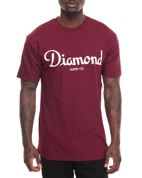 Diamond Supply Co Men Champagne Script Tee Maroon Large