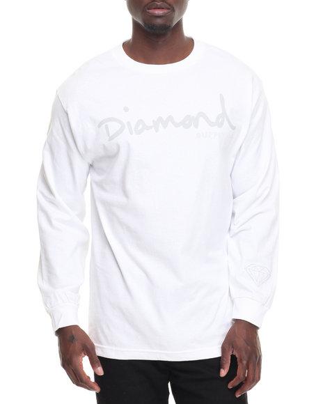 Diamond Supply Co Men Tonal Og Script L/S Tee White XX-Large