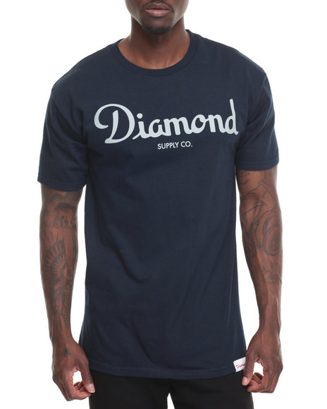 Diamond Supply Co Men Champagne Script Tee Navy X-Large