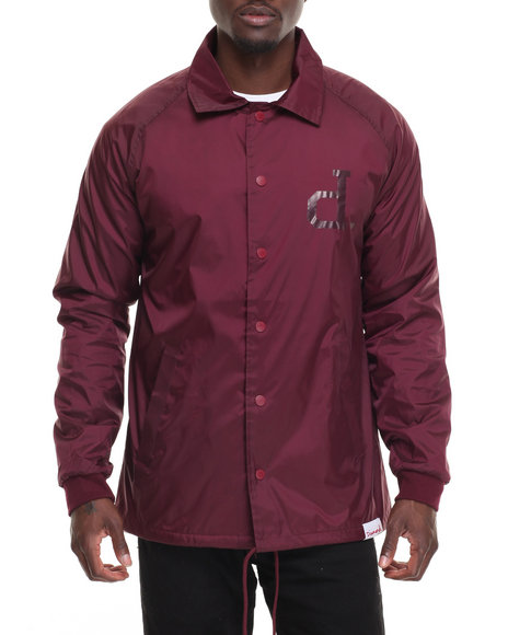 Diamond Supply Co Men Tonal Un Polo Coach's Jacket Maroon Large