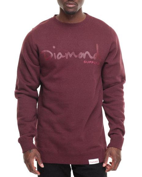Diamond Supply Co Men Tonal Og Script Crewneck Sweatshirt Maroon Medium