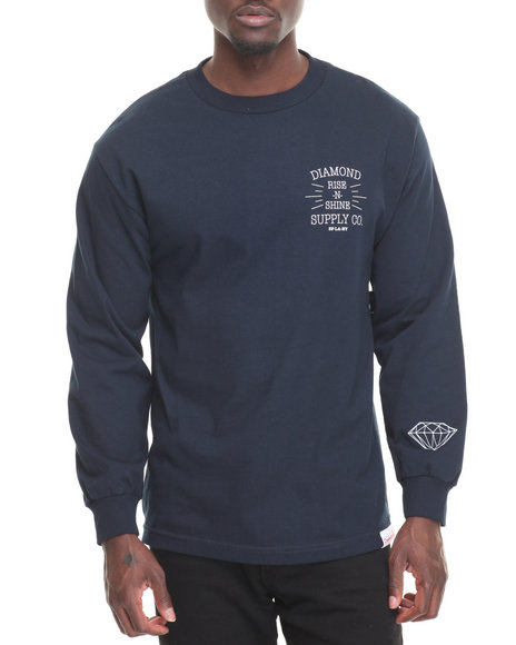 Diamond Supply Co Men Rise N Shine L/S Tee Navy Medium