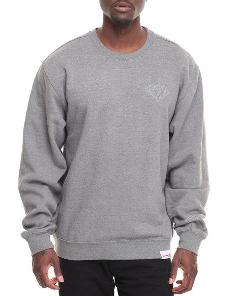 Diamond Supply Co Men Tonal Chest Brilliant Crewneck Sweatshirt Grey XX-Large