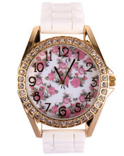 DRJ Accessories Shoppe - Floral Dial Ceramic Band Watch