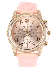 DRJ Accessories Shoppe - Bling Round Face Quilted Band Watch
