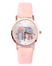 DRJ Accessories Shoppe - Floral Elephant Dial Vegan Leather Band Watch
